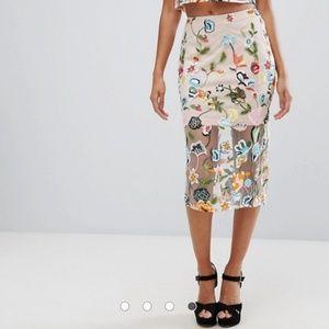 River island midi sheer floral skirt